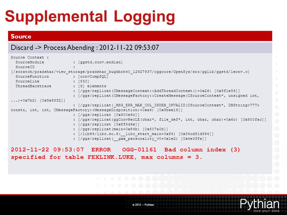 Supplemental Logging Source. Discard -> Process Abending : 2012-11-22 09:53:07. Source Context : SourceModule : [ggstd.conv.endian]